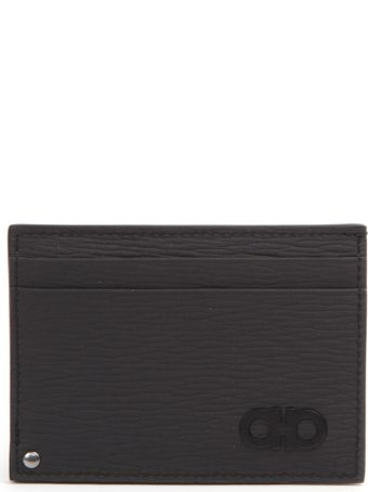 Salvatore Ferragamo Dark Grey Leather Logo Cardholder