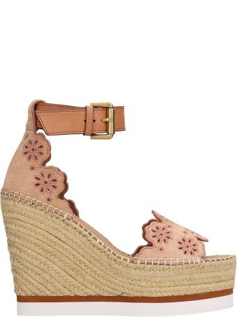 See by Chloé Glyn Embroidered Floral Wedge Sandals
