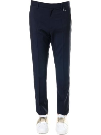 Valentino Blue Trousers In Mohair Wool With Side Stripe