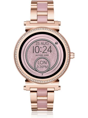 Michael Kors Michael Kors Access Sofie Rose Gold-tone And Acetate Touchscreen Smartwatch