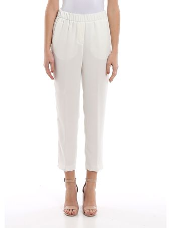 Peserico Point Light Embellished White Pants