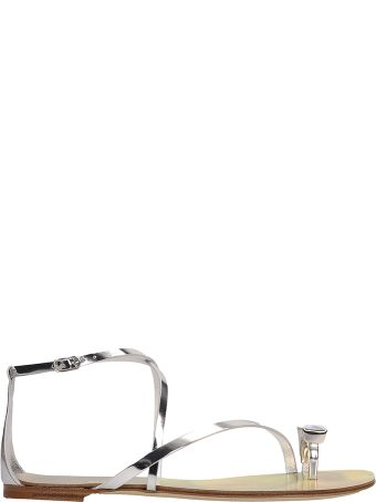 Casadei Silver Laminated Leather Flip-flop Sandals