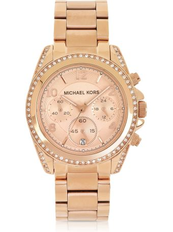Michael Kors Rose Golden Stainless Steel Blair Chronograph Glitz Women's Watch