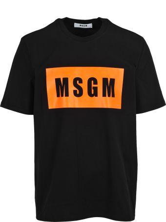 MSGM Tshirt Logo Placca Fluo