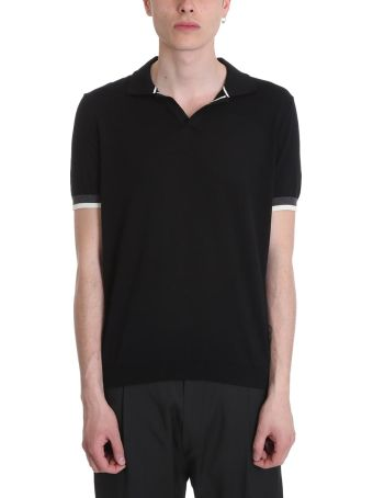 Low Brand Black Cotton Polo Shirt