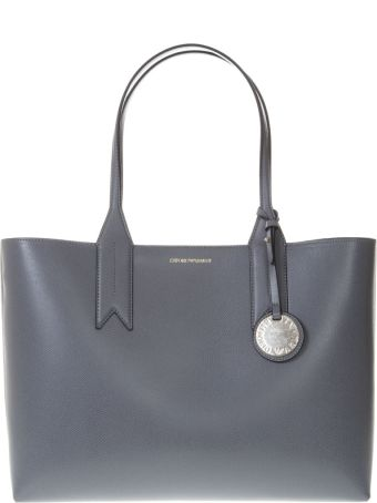 Emporio Armani Grey Shopper In Faux Leather With Logo Charm