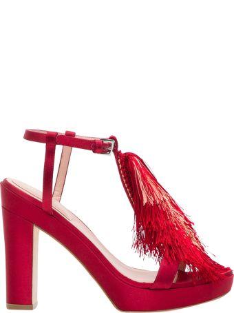 Alberta Ferretti Sandals Gradient Fringes Detail On The Front
