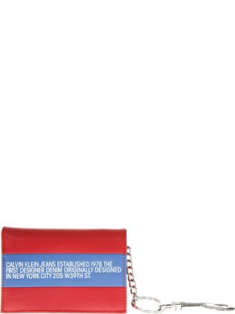 Calvin Klein Jeans Red & Blue Leather Wallet