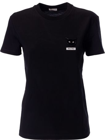 Miu Miu Cat Embellished T-shirt