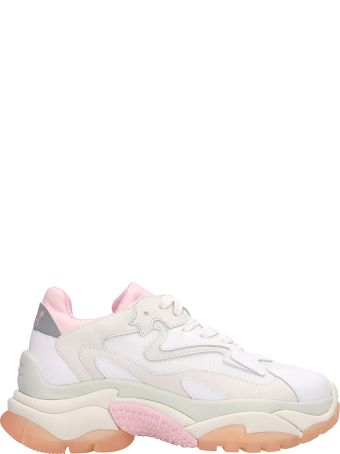 Ash Addict Trainers White Pink Leather And Mesh