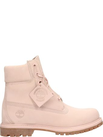 Timberland Classic Premium Mono In Pink Nubuck Leather Boots