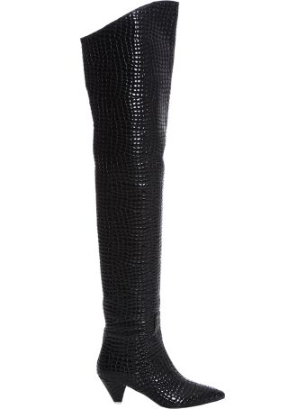 ATTICO Black Leather Knee Length Boots