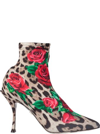 Dolce & Gabbana Rose Print Boots
