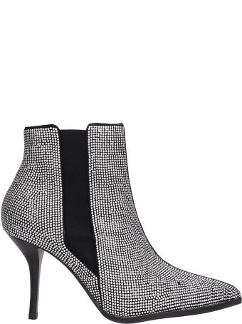 Lola Cruz Black Leather Elastic Ankle Boots