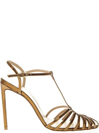 Francesco Russo Gold Mirror Cage Leather Sandals
