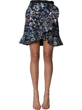 self-portrait Skirt With Floral Embroidery