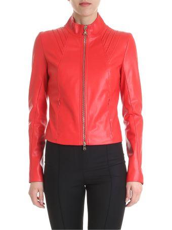 Patrizia Pepe Red Faux Leather Jacket