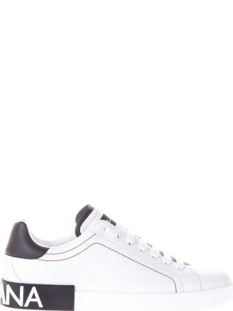 Dolce & Gabbana Portofino White & Black Leather Sneakers
