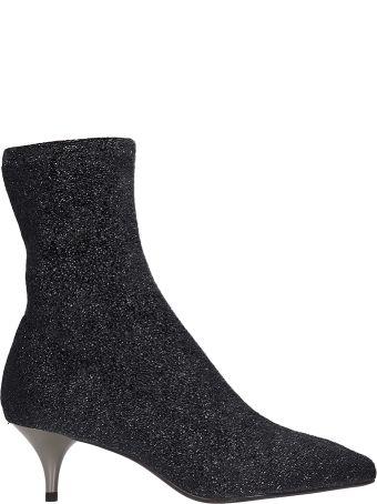 Lola Cruz Grey Glitter Fabric Ankle Boots
