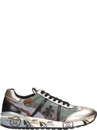 Premiata Green Leather And Fabric Roxane Sneakers