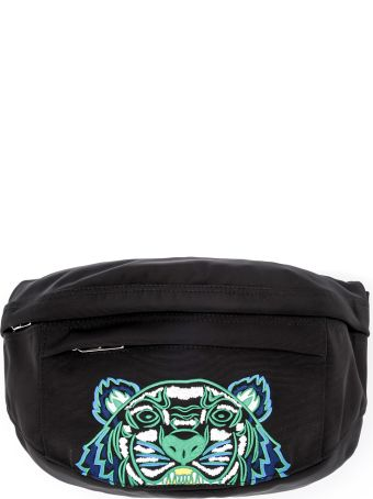 Kenzo Black Fabric Pouch With Tiger
