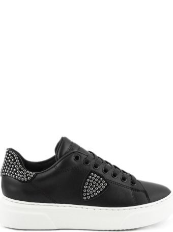 Philippe Model Black Leather Temple Femme Sneaker