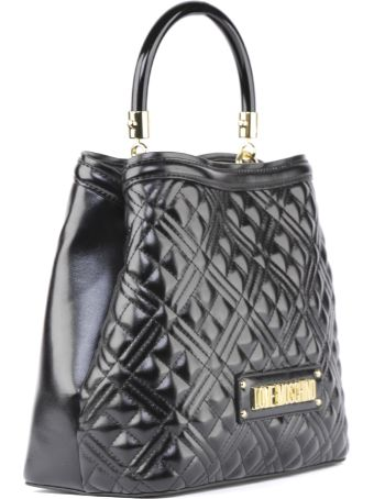 Love Moschino Black Quilted Pvc Hand Bag