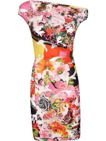 Versace Floral Print Exposed Shoulder Dress
