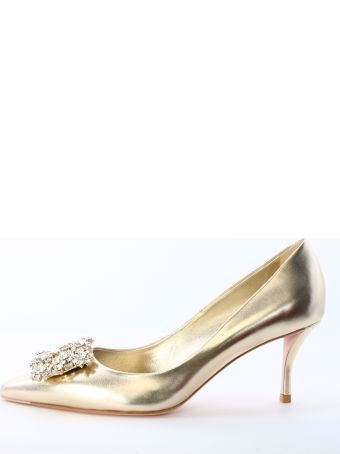 Roger Vivier Décolleté Flower Strass Gold