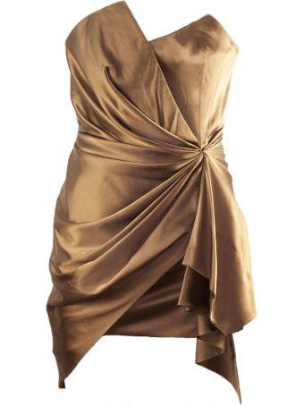 Alexandre Vauthier Bronze-tone Silk Dress