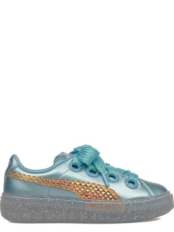 Puma Turquoise Platform Glitter Princess Leather Sneakers