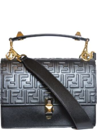 Fendi Kan I Logo Big Bag Wit On The Handle There Are 2 Dust And On The Latch As Well. On The Top The Bag The Is The Logo In Elevetion. On The Lower Is Smoot