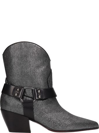 Dei Mille Silver Leather Texano Ankle Boots
