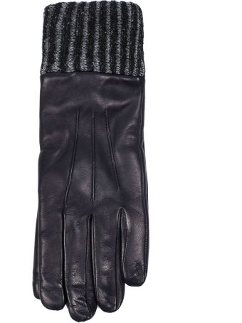 Fay Gloves In Blue Nappa Leather