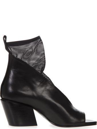Elena Iachi Black Leather & Mesh Ankle Sandal