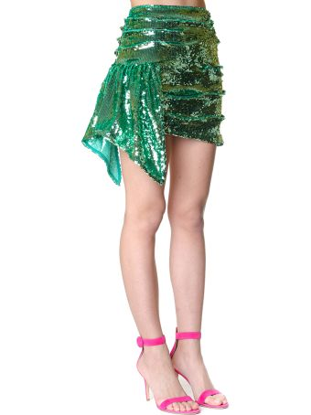 For Love & Lemons Skirt Coated With Paillettes Color Green