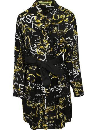 Versace Logo Print Shirt Dress
