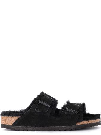 Birkenstock Arizona Black Suede And Hair Sandal