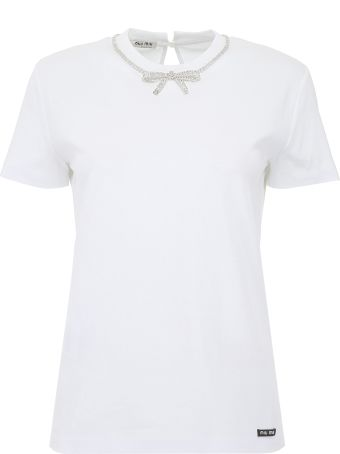 Miu Miu Crystal-embellished T-shirt