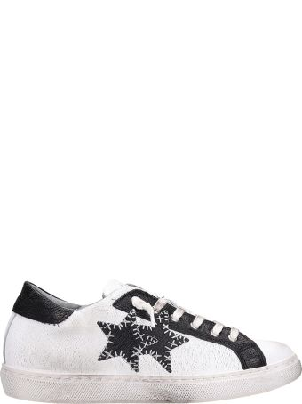 2Star Low White Black Leather Sneakers