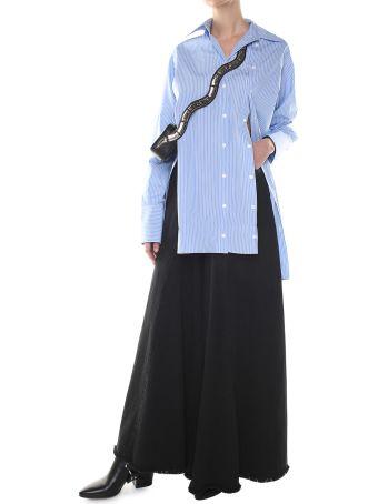 Rokh Double Button-placket Striped Cotton-poplin Shirt