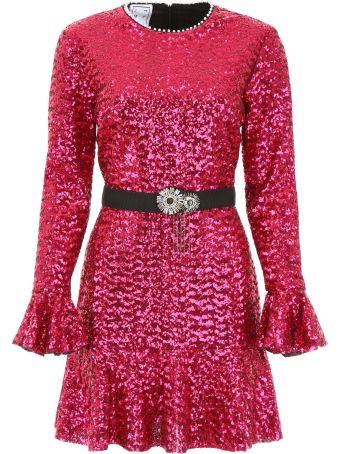 In The Mood For Love Sequins Mini Dress With Pearls