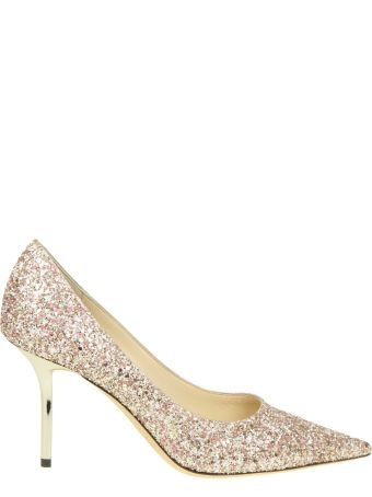 Jimmy Choo Decollete' Love 85 In Glittered Fabric Color Pink