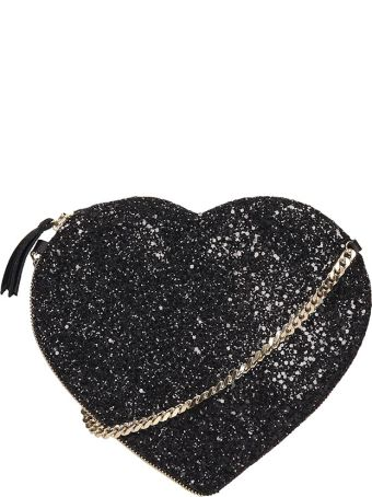 Anniel Heart Crossbody Black Glitter Bag