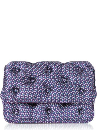 Benedetta Bruzziches Turtles Printed Violet Satin Silk Carmen Shoulder Bag