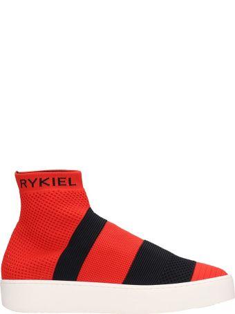 Sonia Rykiel Red Canvas Siglage Sneakers