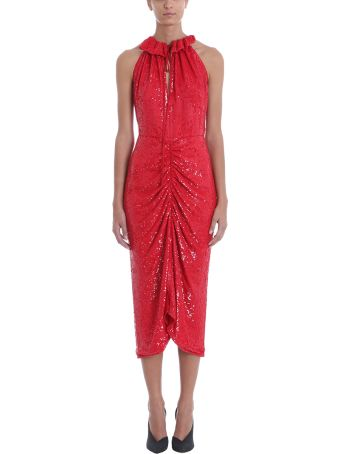 Magda Butrym Hilo Ruched Red Sequined Chiffon Midi Dress