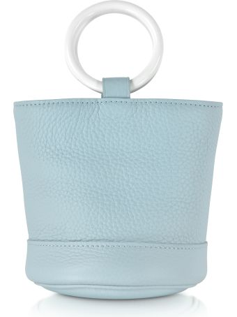 Simon Miller S801 Gray Petrol Leather 15 Cm Bonsai Bag