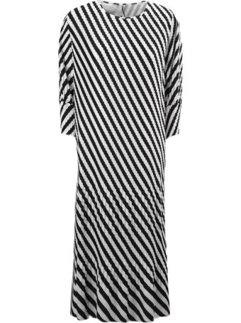 Dries Van Noten White And Black Striped Pleated Long Dress