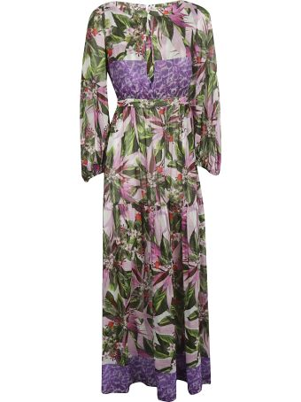 Black Coral Floral Printed Maxi Dress